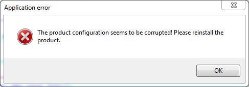Fehlermeldung korrupte Konfiguration
