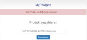 """Fehlermeldung: """"Das Produkt wurde bereits registriert"""""""