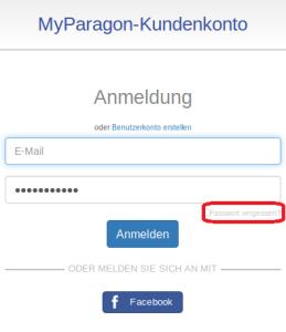 Link Passwort vergessen auf Anmeldeseite