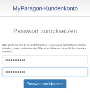 Neues Passwort zweimal eintragen