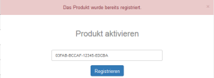 Produkt registrieren Fehlermeldung bereits registriert