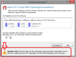 Warnung vor Verlust der Bootfähigkeit bei der Umwandlung einer GPT-Festplatte mit installiertem Betriebssystem in eine MBR-Festplatte.