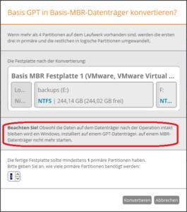 FM 16: Warnung vor Verlust der Bootfähigkeit bei der Umwandlung einer GPT-Festplatte mit installiertem Betriebssystem in eine MBR-Festplatte.