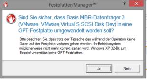 Warnung vor Verlust der Bootfähigkeit bei der Umwandlung einer MBR-Festplatte mit installiertem Betriebssystem in eine GPT-Festplatte.
