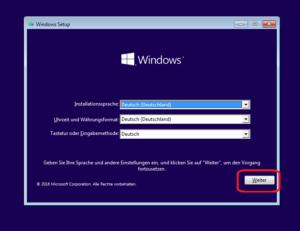 Eingabeaufforderung vom Windows-Installationsmedium aufrufen: Sprachauswahl, Weiter anklicken