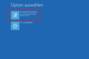 Eingabeaufforderung vom Windows-Installationsmedium aufrufen: Problembehandlung anklicken