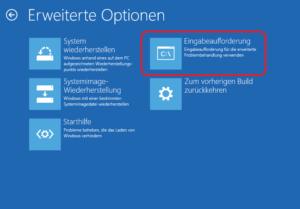 Eingabeaufforderung vom Windows-Installationsmedium aufrufen: Eingabeaufforderung anklicken