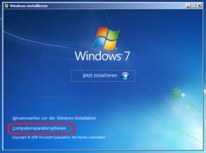 Eingabeaufforderung vom Windows-Installationsmedium aufrufen: Computerreparaturoptionen