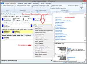 Kontextabhängige Funktionsliste: Partition auf Basisdatenträger ausgewählt