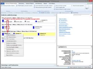 Kontextabhängige Funktionsliste: Partition auf Dynamischer Festplatte ausgewählt