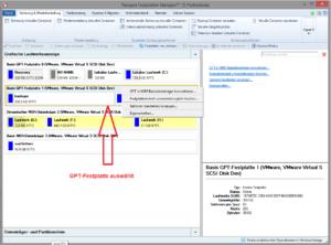 Kontextabhängige Funktionsliste: GPT-Festplatte ausgewählt