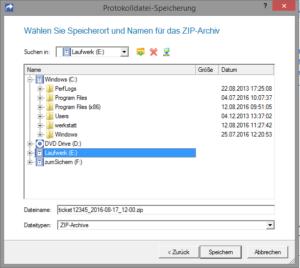 ZIP-Datei auf Datenträger speichern