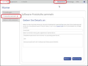 Protokolldateien sammeln und Formular ausfüllen in Version 16
