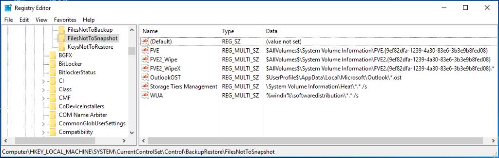 Screenshot aus der Registry