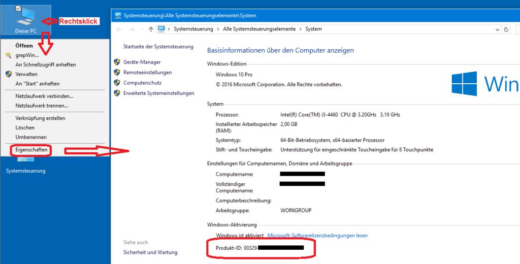 Windows-Produkt-ID ermitteln