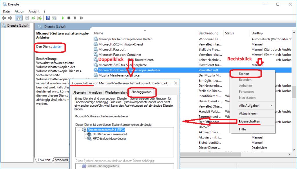 """Der """"Microsoft-Softwareschattenkopie-Anbieter"""" in der Diensteverwaltung"""
