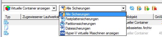Virtuelle Container nach Inhalt filtern