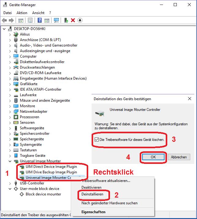UIM-Treiber im Geräte-Manager deinstallieren