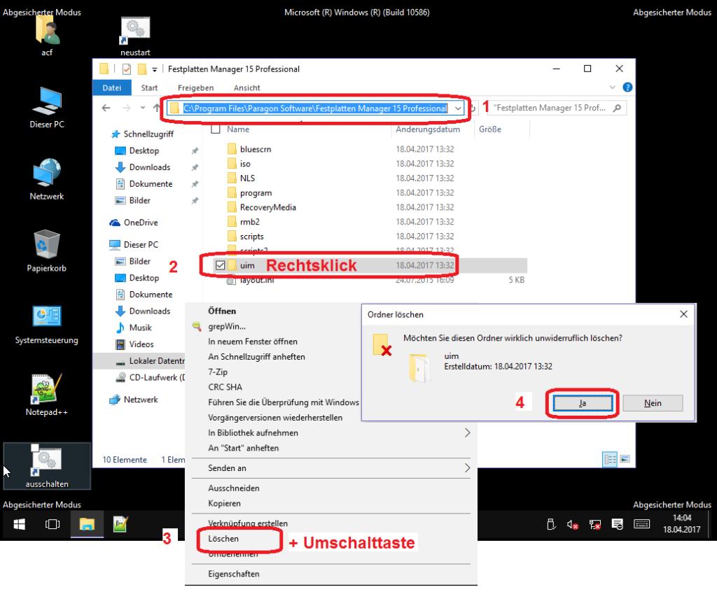 UIM-Verzeichnis imParagon-Programmordner löschen