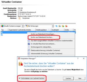 Archiv über die Archivdatenbank aus Backup-Container löschen.