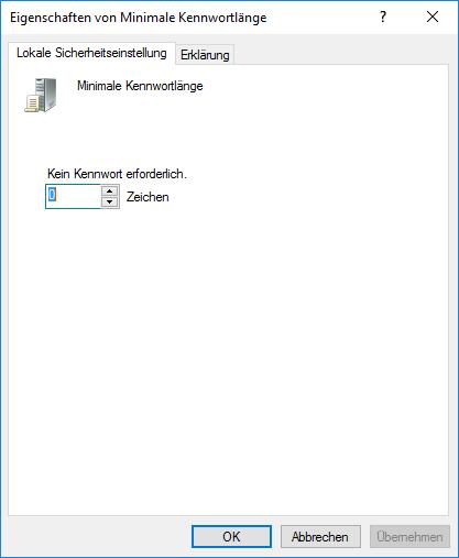 """""""Minimale Kennwortlänge"""" auf den Wert """"0"""""""