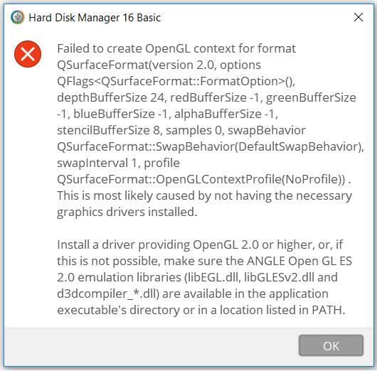 Fehlermeldung OpenGL 2.0
