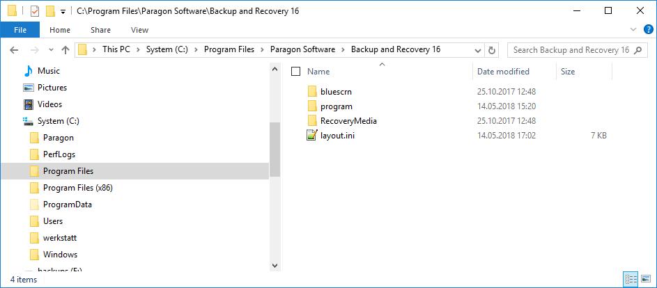 Programmverzeichnis von Backup & Recovery 16