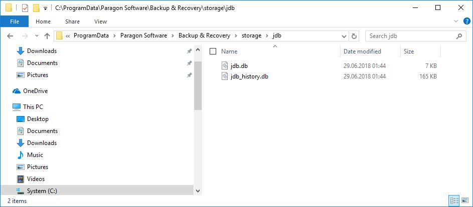 Job-Datenbanken von Backup & Recovery 16