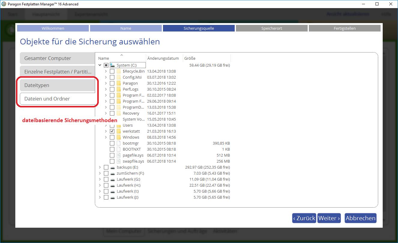 Dateibasierende Sicherungsmethoden bei der Version 16