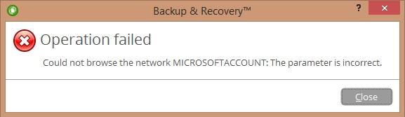 Fehlermeldung: Das Netzwerk konnte nicht durchsucht werden MICROSOFTACCOUNT: Falscher Parameter.
