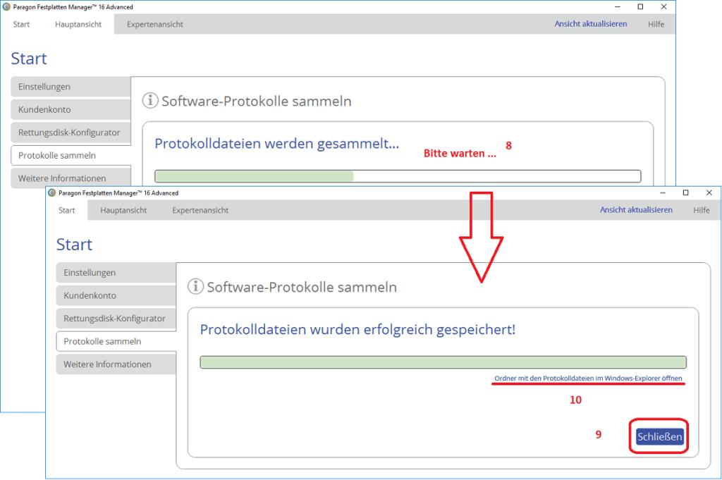 Protokolldatei-Speicherung in der Version 16 - Abschluss