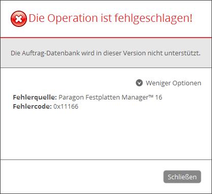 0x11166: Die Auftrag-Datenbank wird in dieser Version nicht unterstützt.