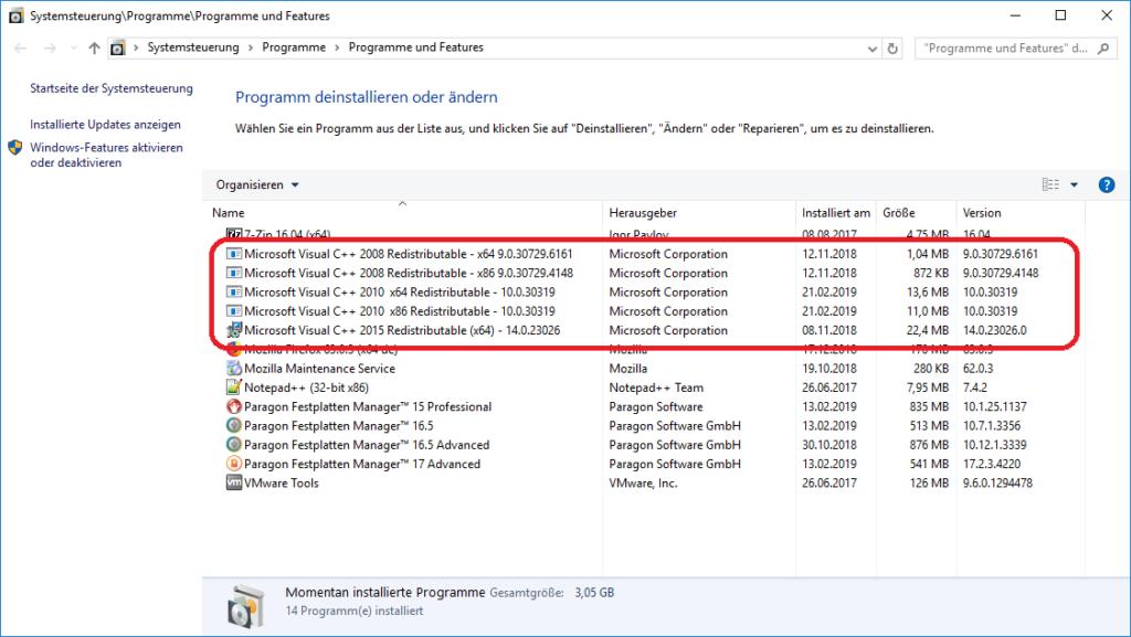 Software-Verwaltung mit C++-Installationen