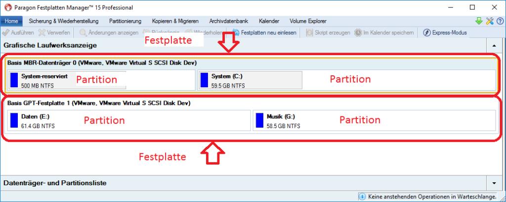 Festplatten und Partitionen in der grafischen Darstellung des Festplatten Manager 15