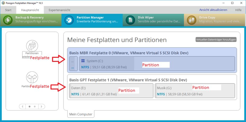 Festplatten und Partitionen in der grafischen Darstellung des Festplatten Manager 16