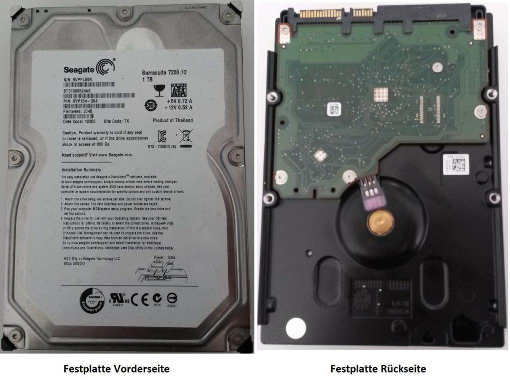 Fotos einer internen Festplatte