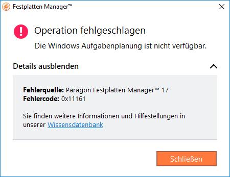 Fehlermeldung im Festplatten Manager 17