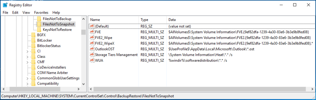 Screenshot from the registry editor