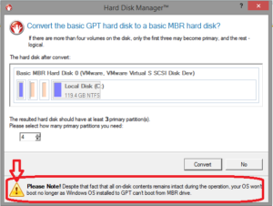 Warning that an OS will remain unbootable if the containing disk is converted from GPT to MBR