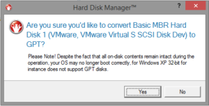 Warning that an OS will remain unbootable if the containing disk is converted from MBR to GPT