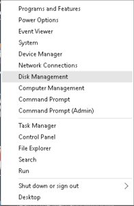 Disk management select