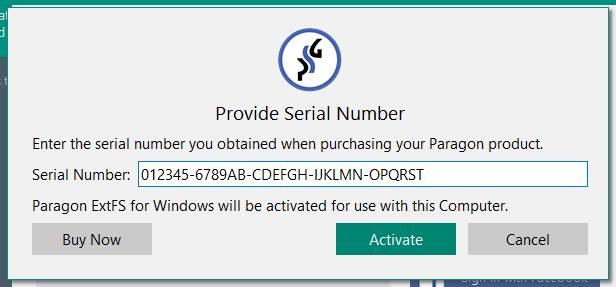 paragon extfs product key serial number